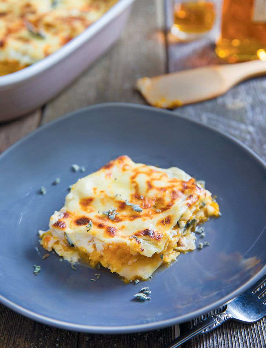 Butternut Squash, Caramelized Onion & Spinach Lasagna